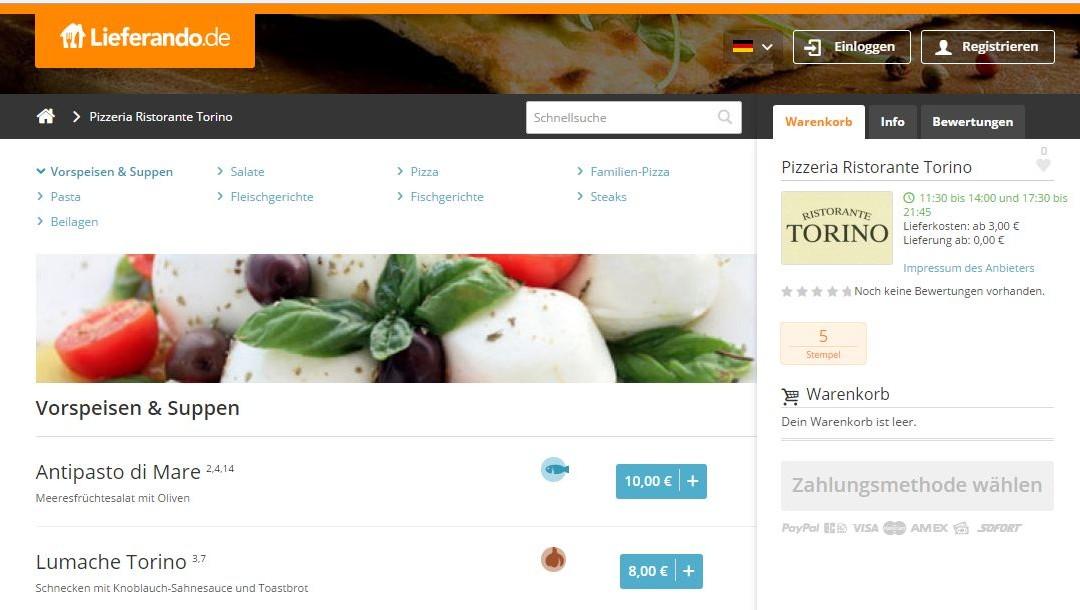 NEU BEI TORINO – Onlinebestellung und Zahlung über lieferando